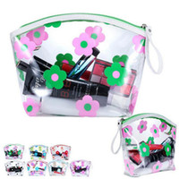 Women Travel PVC Cosmetic Bags Transparent Flower Zipper Wat...