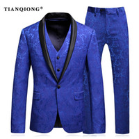 Wholesale-TIAN QIONG Mens Wedding Suit 2017 Man Slim Fit Business Suit Printed 3 Piece Groomsmen Suits Tuxedo Jacket Prom Stage Wear