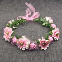 Düğün Tiaras Gelin Gül Çiçek Taç Hairband Weddingg Flowerr Kafa Garland Festivali Floweer Çelenk Elastik Saç Aksesuarları