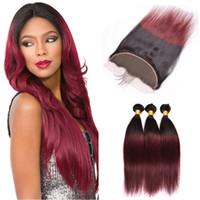 9a Gerade Ombre 99j Hair 3 Bundles mit Spitze Frontal dunklen Wurzel Burgundy Lace Frontal Mit Bundles brasilianischen Jungfrau-Haare
