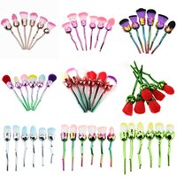 6pcs Makeup Brushes Set Multicolored Rose Flower Shape Make ...