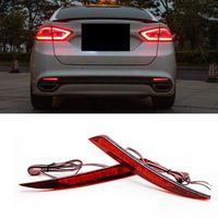 배 / 포드 퓨전 2013-15 자동차 자동차 테일 라이트 레드 렌즈 LED 후면의 경우 많은 안개 램프 리플렉터 경고