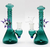 Joint 14.4mm Hunter Glass Bong 15cm Dos Fuction Hookahs nline Pecolator Oil Rigs Glass Bong Eye Bead En stock Pipas de agua para fumar