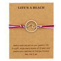 Heißer Verkauf Mädchen Einstellbare Freundschaft Erklärung Schmuck mit Karte Machen Sie einen Wunsch Silber Welle Charme Armbänder für Frauen