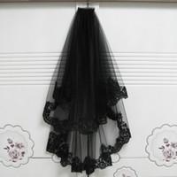 Mariage court Veils Halloween Décoration noir avec peigne deux couches en dentelle Appliques accessoire de cheveux Mariage mariée voiles 65cm-85cm 2018 Nouveau