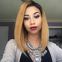 Hot Sexy Side Parting 1b 27# Ombre Blonde Short Bob Wigs Hea...