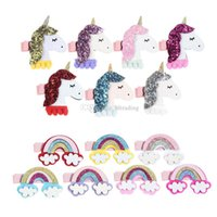 2018 New Rainbow Unicorn Clip With Sequins baby Girls Hair C...