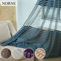 NORNE Decorative Semi Lace Striped cortina escarpada Tulle Voile Paneles para Windows Sala de estar Cocina Dormitorio Habitaciones Puerta cortinas transparentes
