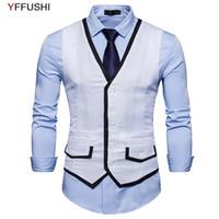 Erkek yelekleri YFFUSHI 2021 Erkekler Yelek Bahar Tek Göğüslü 4 Katı Renkler Rahat Tarzı Moda Tasarım Slim Fit S-XXL