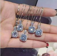 Moda Simples Jóias de Prata Esterlina 925 Corte Redondo 5A Cubic Zirconia CZ Partido clavícula Cadeia De Diamante Mulheres Bonito Colar Pingente de Presente