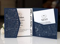 Navy Blue 3 Folds Square Wedding Invitations Cards with Belt...