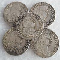 Frankrike 1 ecu - Louis XIV En uppsättning (1685-1689) 5pcs Kopiera mynt Brass Craft Ornaments Replica Coins Heminredning Tillbehör