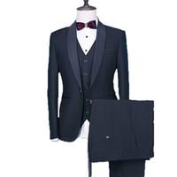 블랙 신랑 턱시도 새틴 숄 옷깃 남성 웨딩 들러리 정장 3 개 재킷 바지 조끼 최고의 남자 재킷 하나의 버튼