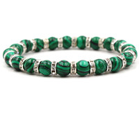 8 mm Malachite Pierre Perles Bracelet élastique Or / Argent Plaqué Cristal Spacer Bracelet en perles Cordes main pour les femmes hommes