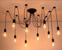 Modern Büyük endüstriyel örümcek Siyah bağbozumu LED kolye ışık Çatı LED 14 ışıkları E27 kolye ışıkları oturma odası restoranlar için bar
