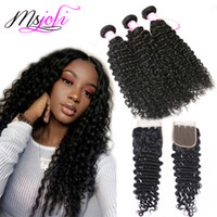 Brazilian virgin human hair bundles with closure deep wave h...