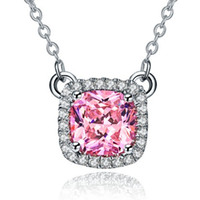 Fabulous 2Ct Pink Cushion Cut Synthetische Diamanten Anhänger 925 Sterling Silber Pullover Anhänger Halskette Weißgold Farbe Schmuck