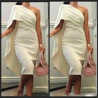 2019 longitud de la rodilla cóctel vestidos de fiesta vaina un hombro blanco Celebrity nupcial 2016 vestido de noche vestido árabe Ivory Satin