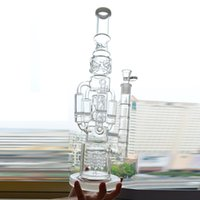 Big Glass Water Bong Recycler Piattaforma petrolifera 4 Rocket Honeycomb Perc Bubbler Dab Rig 18
