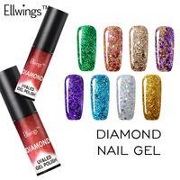 Ellwings الماس بريق الأشعة فوق البنفسجية هلام البولندية نقع قبالة هلام طلاء الأظافر مانيكير الأظافر تألق مع أعلى قاعدة البولندية