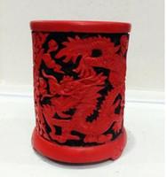 Penna a forma di vaso di drago cinese squisita in lacca con cinabro rosso