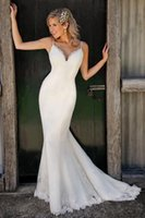 2019 New Cheap Bohemian Beach Lace Mermaid Abiti da sposa Spaghetti cinghie Sweep Train Abiti da sposa Abiti da sposa abiti robe de mariée