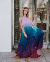 2018 Sexy Women Backless Maxi Dress Ombre Pleated Sleeveless...