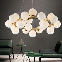 Современная люстра светодиодная подвесная лампа стеклянного шарика потолочный завещание освещение для гостиной столовая подвеска световые светильники
