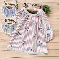 lace patchwork flowers embroidery striped Slash neck cotton ...