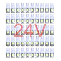 50x 다채로운 트럭 12V 24V LED T10 5LED 194 168 W5W 5 SMD 5050 5SMD LED 웨지 전구 램프 흰색 녹색 파랑 빨강 노랑 24V