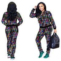 Color F letter printing Tracksuit women sweatshirt and Jogge...