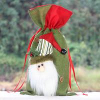 أكياس هدايا الأطفال حلوى الرباط الجيب زينة لوازم أحمر أخضر سانتا كلوز الأيائل ثلج الخيش حقيبة 8xs وما يليها