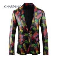 Mens tailored jackets High- quality fabric feather pattern pr...