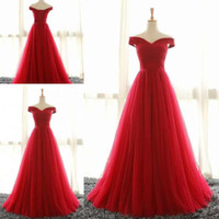 Red Simple Evening Dresses Off The Shoulder Capped Sleeves S...