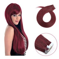 22 inch tape in hair extensions virgin 10a grade red wine 99...