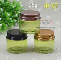 25 / siyah altın kahverengi / alüminyum kapak, 25 ml numune kabı, 25G Krem Kavanozlar ya da krem kavanoz ile açık yeşil PET Kozmetik Jar gram.
