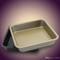 أطباق الخبز مربع 8 بوصة الكربون الصلب الإبداعية مقاومة للحرارة كعكة عموم غير عصا طلاء البيتزا لوحة بسيطة العملية 5sk د