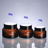 15g 30g 50g Brown Glass Jar Pot- Spalla inclinata Contenitore di vetro per cera, olio, crema, cosmetici - Bottiglia di imballaggio di campione riutilizzabile da viaggio