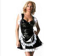Punk fétiche en cuir français Pucelle cosplay costume sexy gothique 100% PVC Robe en dentelle Halloween Latex Lingerie Combinaison S-XXL