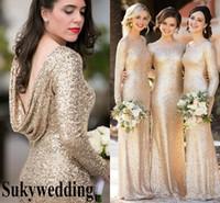 Pelerin Geri Wedding Guest Elbise Ucuz Balo törenlerinde ile Onur törenlerinde Champagne Sequins Gelinlik Modelleri Uzun Kollu Pırıltılı Artı boyutu Hizmetçi