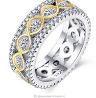 Hip Hop Ring mit Goldener Wicklung Alle Iced Out High Quality Schnitt Micro Pave CZ Ringe Frauen Männer 925 Silber Ring für Liebe, Geschenk