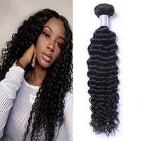 Малайзийская девственница человеческих волос глубоковолновая волна вьющиеся необработанные ременные волосы Weaves двойные Wefts 100G / расслоение волос
