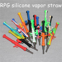 Silikon Nectar Collector Kit Concentrate Rökrör med GR2 Titan Tips DAB Straw Oil Rigs Silicon Rökning Rör Bong DHL