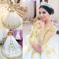 Luxo Ouro Applique Wedding Dress Sexy Off Ombro frisada Sheer mangas compridas vestidos de casamento Tulle Glamorous Arábia árabe do vestido de casamento