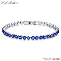 MGFam (296B) 7 Color Choices White Gold Color Small Bracelet...
