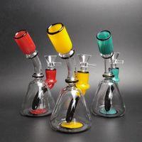 6 pollici mini bicchiere di vetro Bong tubi di acqua Bongs DAB rigs bollabler colorato tubo di fumo in testa in magazzino spedizione veloce