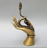 Cinese da collezione Pure Copper Buddha Lotus Statua Rame Kwan-yin Mano Artigianato Artigianato Matrimonio Casa Albergo Decorazione Arredamento regali CR09
