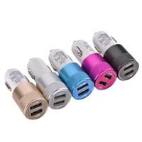 100PCS 유니버셜 NOKOKO 금속 듀얼 USB 포트 2.1A + 1A 차량용 충전기 아이 패드 삼성 S6 S7 MP3를 PC에 GPS를위한 아이폰 4 5 6 7