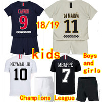 774dc946e Kids Paris Jerseys Verratti T.SILVA Soccer Sets 2018 2019 MBAPPE NEYMAR JR  CAVANI DI MARIA Rabiot Draxler Buffon Children s Football uniform