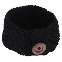 Diagonal stripes with button weaving wool knitting Headband